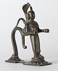 Antique Indian Bronze Figure of Dipa-Lakshmi.