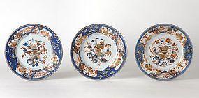 Three Kangxi Chinese Export Porcelain Imari Plates.