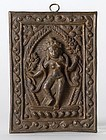 Votive Repousse Plaque with dancing Goddess, 19th/20th.