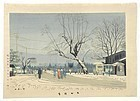 Woodblock Print  by Takeji Asano - Snow at Demachi