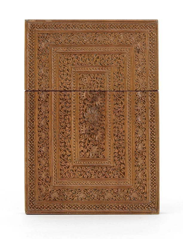 Anglo Indian or Persian Sandal Wood Card Case.