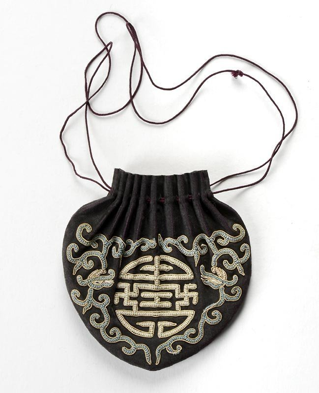 Chinese Silk Purse with Peking Knot Embroidery.