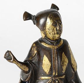 "Chinese Ming Bronze Figure of Immortal ""He Xiangu""."