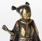 "Chinese Ming Bronze Figure of Immortal ""He Xiangu""."