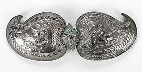 Ottoman Silver Belt Buckle with Double-Headed Eagle.