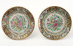 Pair of Large Chinese Butterfly Porcelain Plates, 19th C.