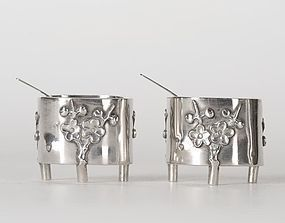 Chinese Export Silver - A Pair Salt Cellars, Sing Fat.