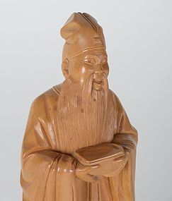 Old Chinese Boxwood Carving Statue of Su Dongpo.