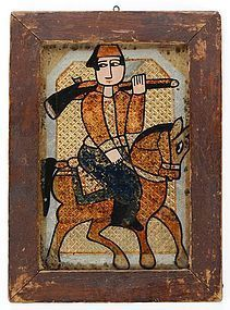 Persian Reverse Glass Painting with Horseman, c. 1920.