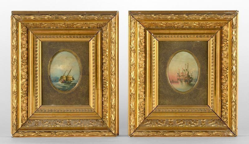 Pair of Chinese Export Oil Paintings w. Ships, 19th C.