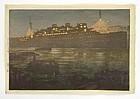 """Hiroshi Yoshida - """"Night in the Harbor"""" Woodblock Print"""
