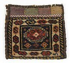 Antique Persian Qashqai Chanteh Bag in Knotted Pile.
