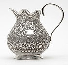 Antique Anglo Indian Repousse Silver Milk Jug.