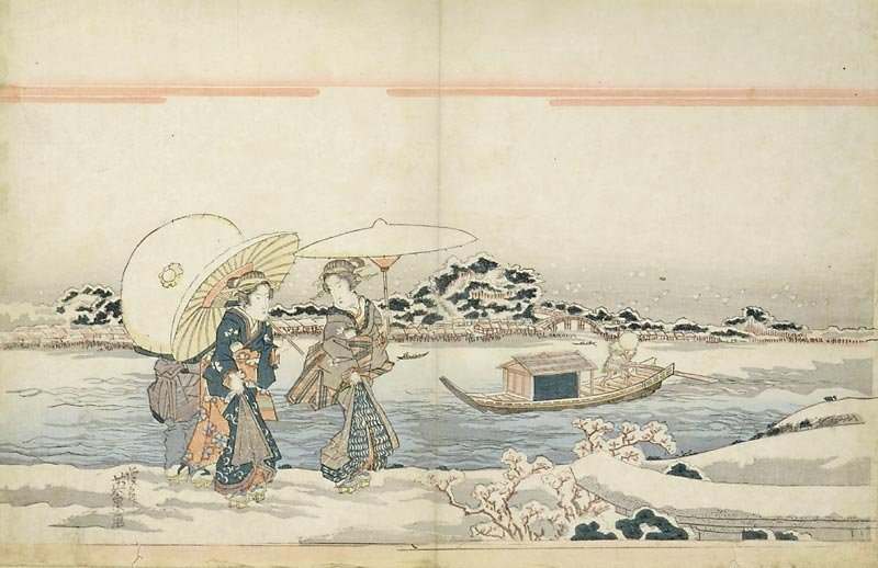 "Keisai Eisen - ""Two Women walking along the Sumidagawa"""