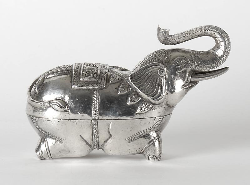 Cambodian Figural Silver Betel Box in Elephant Shape,  c. 1920.