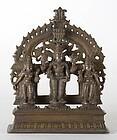 Antique Indian Bronze Altar of Vishnu with Consorts.