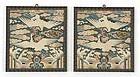 """A Pair Embroidered Korean Rank Badges """"Hyungbae"""", Choson."""