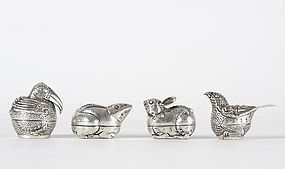 Lot of 4 Small Cambodian Silver Betel Boxes in Animal Shape.