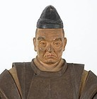 Signed Japanese Wood Sculpture of Tenjin, Meiji/Taisho.