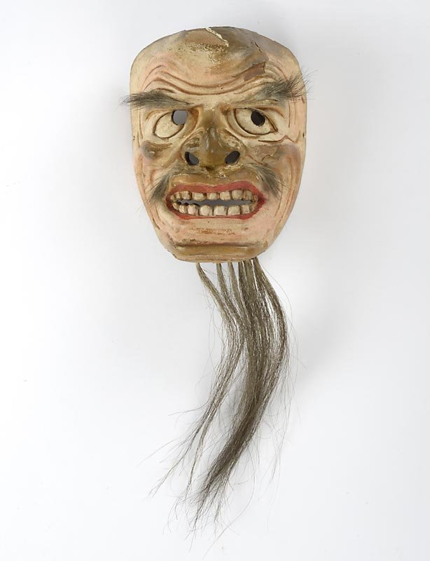 Antique Japanese Noh or Kyogen Wood Mask, Meiji or Edo Period.