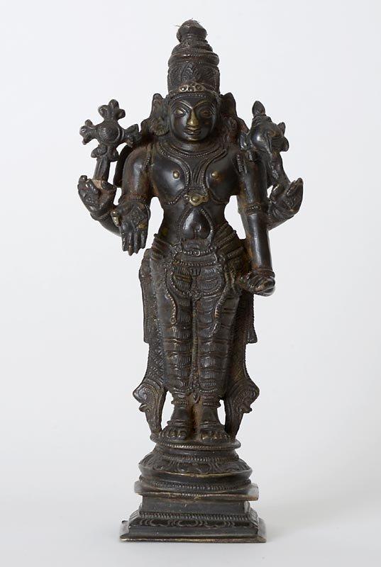 Old Indian Bronze Figure of Four-Armed Vishnu.
