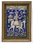 Framed Persian Qajar Moulded Pottery Tile w. Falconer, 19th C.