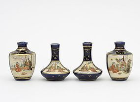 Four Antique Japanese Miniature Satsuma Vases, Signed.