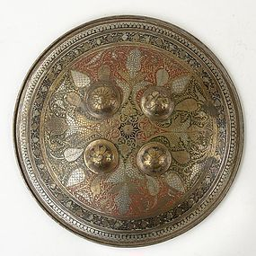 Antique Indian Dhal Bronze Shield with Enamel, c. 1900.