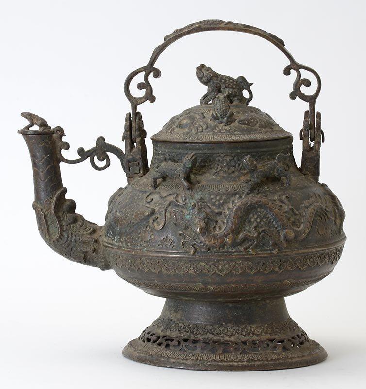 Large Malay Brunei Ritual Bronze Kettle with Animal Motifs, c. 1920.
