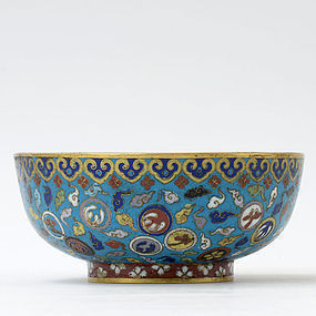 Antique Large Chinese Cloisonne Enamel Bowl, 17th/18th C.