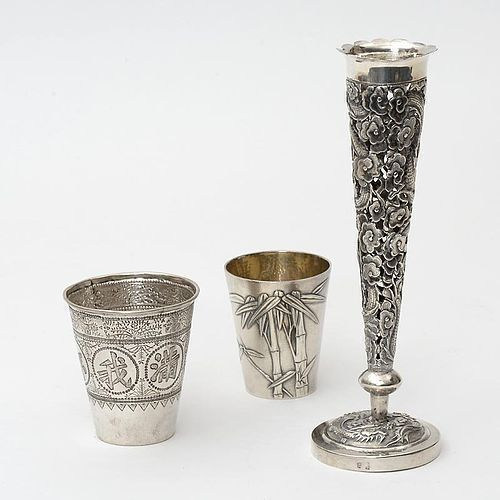 Lot of 3 Chinese Export Silver Items - Vase Damaged.