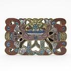 Antique Chinese Gilt Cloisonne & Champleve Belt Buckle w. Bats.