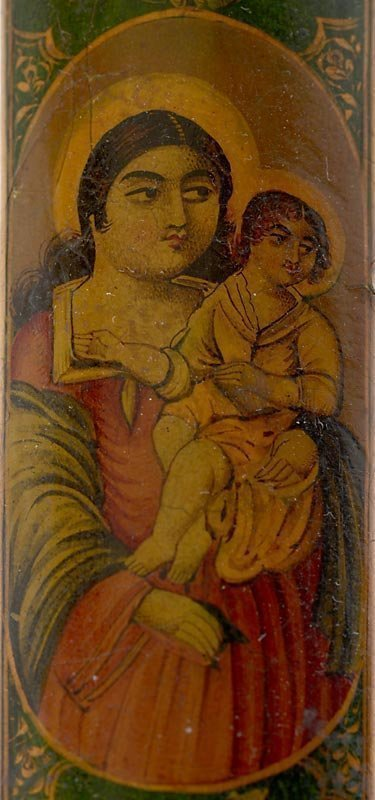 Persian Qajar Papier-Mache Qalamdan w. Virgin Mary & Jesus, 19th C.