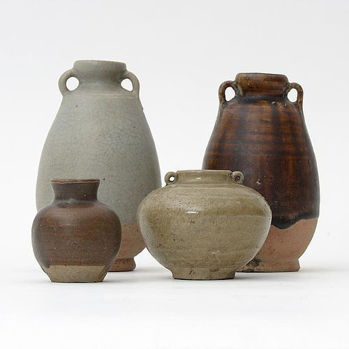 Lot of 4 Antique Thai Ceramics w. Celadon & Brown Glaze, c. 17 th C.