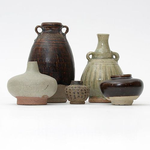 Lot of 5 Antique Thai Ceramics w. Celadon & Brown Glaze, c. 17 th C.