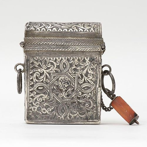 Antique Moroccan Silver Gun Cartridge or Flint Box.