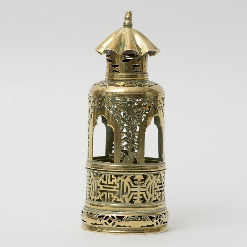 Antique Chinese Yellow Paktong Opium Lamp in Lantern Form.