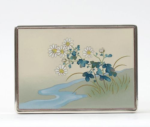 Fine Japanese Cloisonne and Wood Box w. Tray, Hayashi Kodenji att.