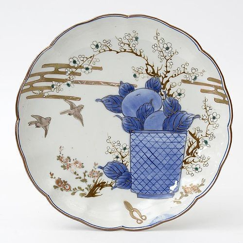 Japanese Arita Porcelain Plate with Bonsai Scissors, Edo Period.