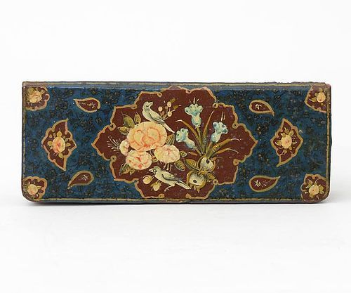 "Small Persian Qajar Box with ""Rose & Nightingale"" Motif, 19th C."