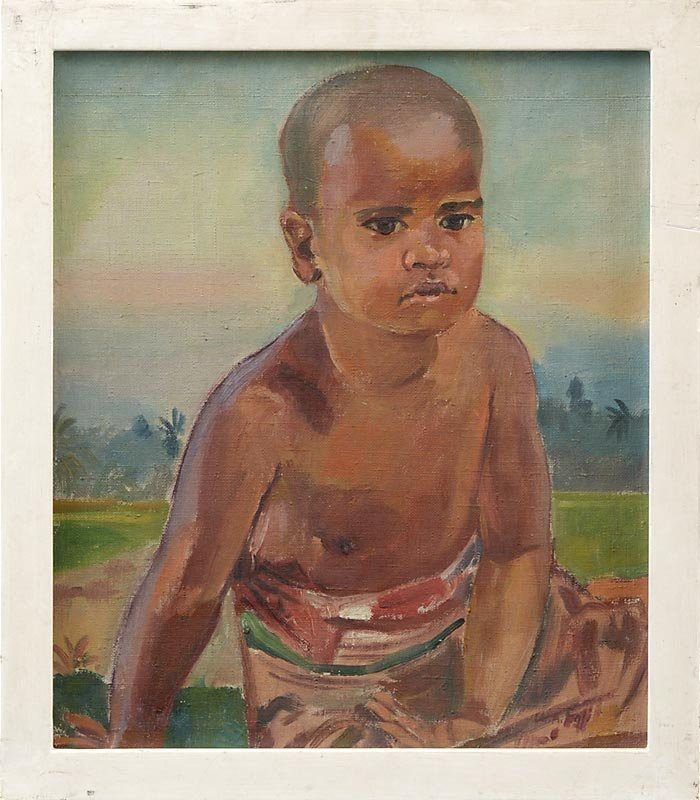 Framed Oil Painting of Balinese Boy by Ch. A. Egli, c. 1925.