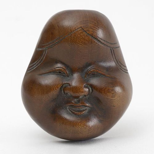Japanese Wood Mask Netsuke of Otafuku or Okame # 1, 19th C.