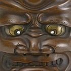 Japanese Miniature Bronze Mask of Oni, Meiji.