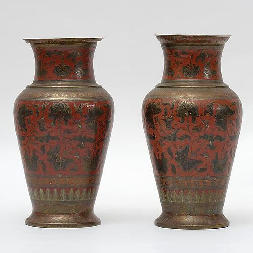 Antique Indian Pair of Enameled Brass Vases with Carnation Tendrils.