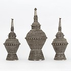 Set of 3 Old Silvered Metal Offering Vessels, Maranao - Philippines.