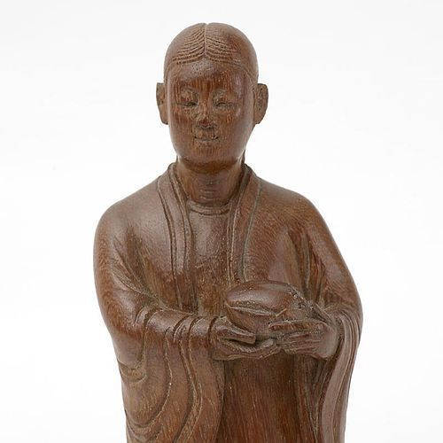 Chinese Bamboo Figure of  Female Immortal with Peach.