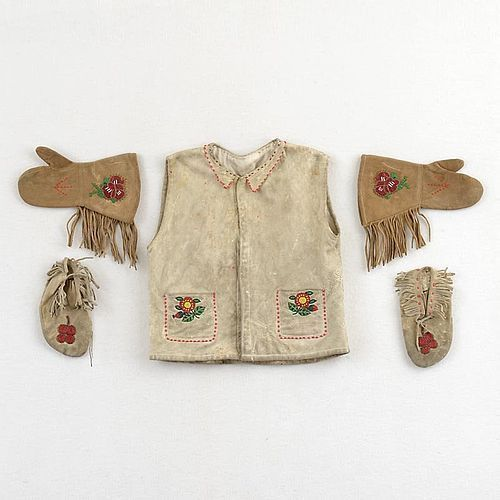 1930's Native North American Beadwork Leather Child's Set.