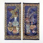 "A Pair Chinese Embroidered Silk Panels with ""100 Antiques"", 20th C."