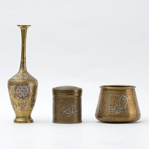 Three Silver Inlaid Mamluk Revival Cairoware Vessels, Egypt or Syria.