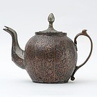 Antique Islamic Tinned Copper Tea Pot.
